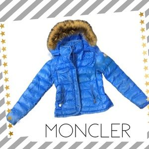 Moncler royal shiny wet look coat w real fur authe